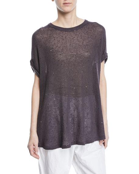 Linen-Silk Paillette Trapeze Pullover Top