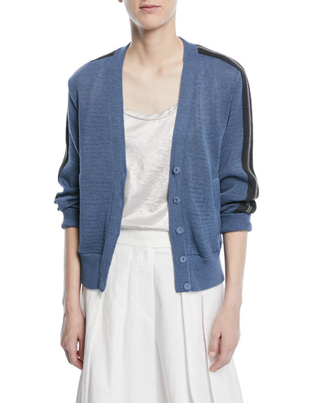 Brunello Cucinelli Button-Front Cardigan with Contrast Racing