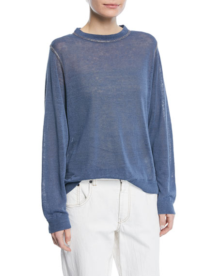 Brunello Cucinelli Crewneck Long-Sleeve Pullover Linen Top with