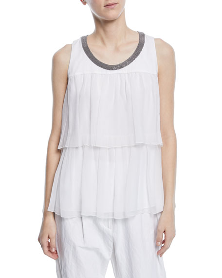 Brunello Cucinelli Sleeveless Tiered Crispy Silk Organza Top