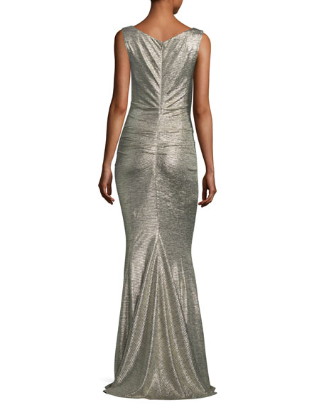 Sleeveless V-Neck Ruched Glitter Jersey Evening Gown