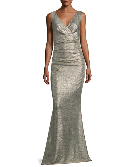 Talbot Runhof Sleeveless V-Neck Ruched Glitter Jersey Evening