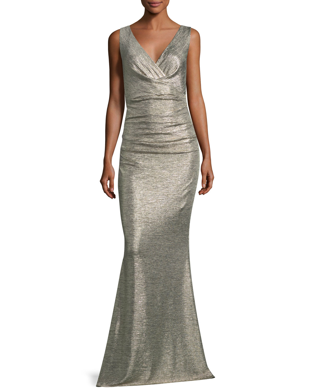 Talbot Runhof Sleeveless V Neck Ruched Glitter Jersey Evening Gown