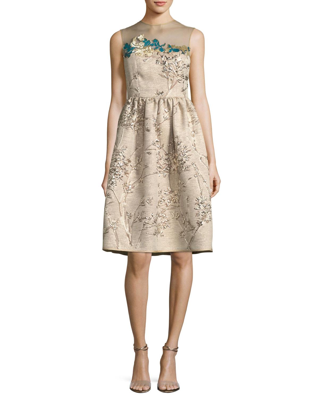 Metallic Floral Cocktail Dress | Neiman Marcus