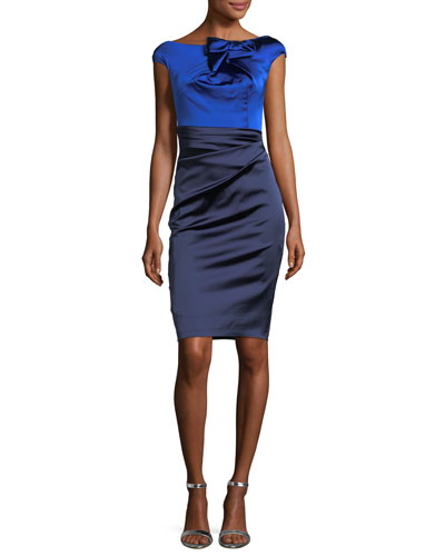 Two-Tone Bow-Neckline Ruched Satin Duchesse Cocktail Dress