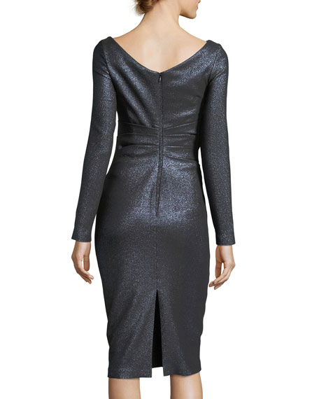 Pollex Asymmetric-Neck Metallic Scuba Cocktail Dress