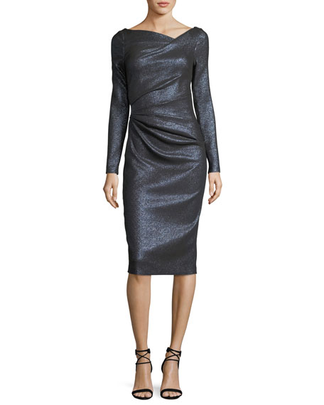 Pollex Asymmetric-Neck Metallic Scuba Cocktail Dress
