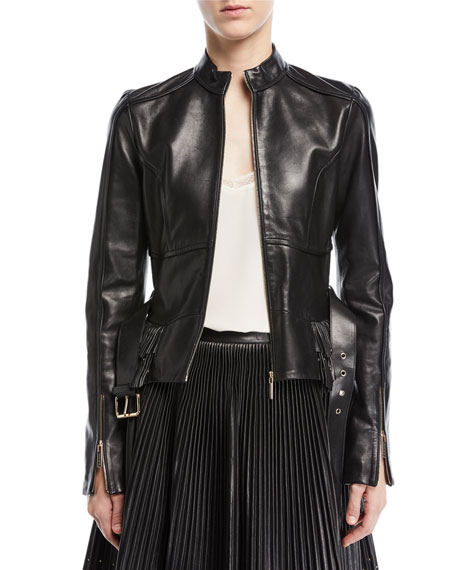 Elie Saab Zip-Front Belted Leather Peplum Jacket with