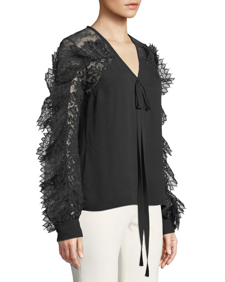 Lace-Sleeve V-Neck Tie-Front Silk-Blend Blouse