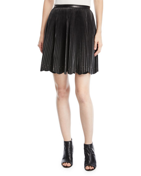 Short Pleated Leather Skirt with Stud Details