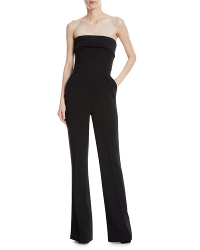 Strapless Wide-Leg Crepe Jumpsuit