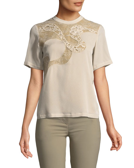 Elie Saab Short-Sleeve Blouse with Lace and Matching