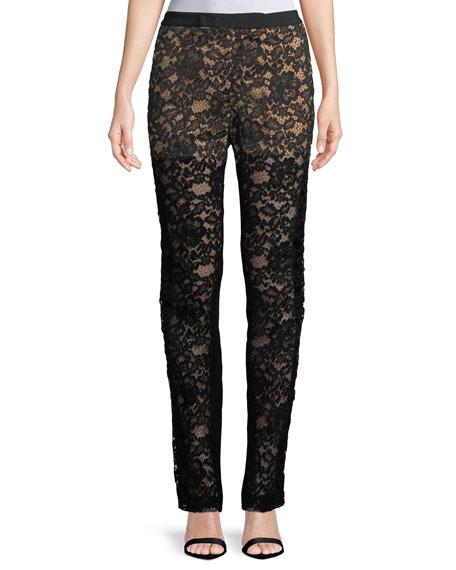 Lace Front Straight-Leg Pants