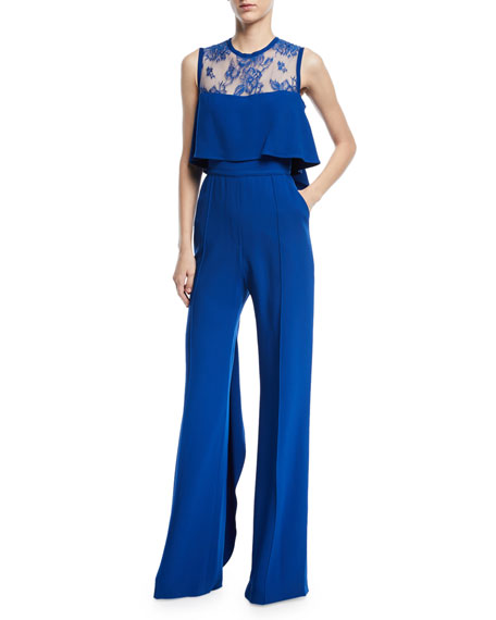 Elie Saab Sleeveless Lace-Yoke Wide-Leg Jumpsuit with Ruffles