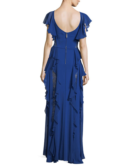 Sweetheart-Neck Evening Gown with Ruffles and Lace Insets