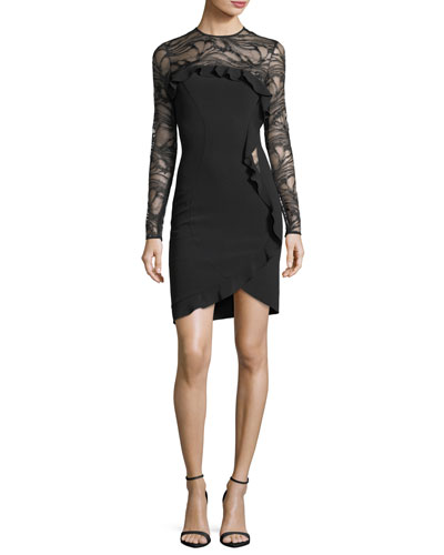 Long-Sleeve Ponte Cocktail Dress with Asymmetric Ruffle Detail