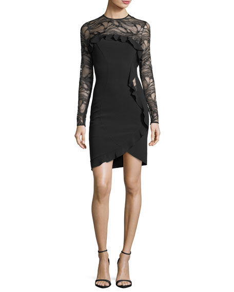 Elie Saab Long-Sleeve Ponte Cocktail Dress with Asymmetric