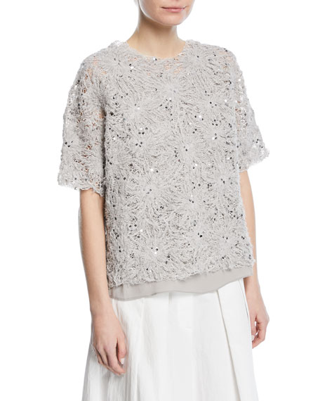 Floral-Embroidered Paillette Artisan Cotton Linen Top