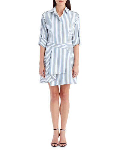 Collared Striped Cotton Shirting Dress