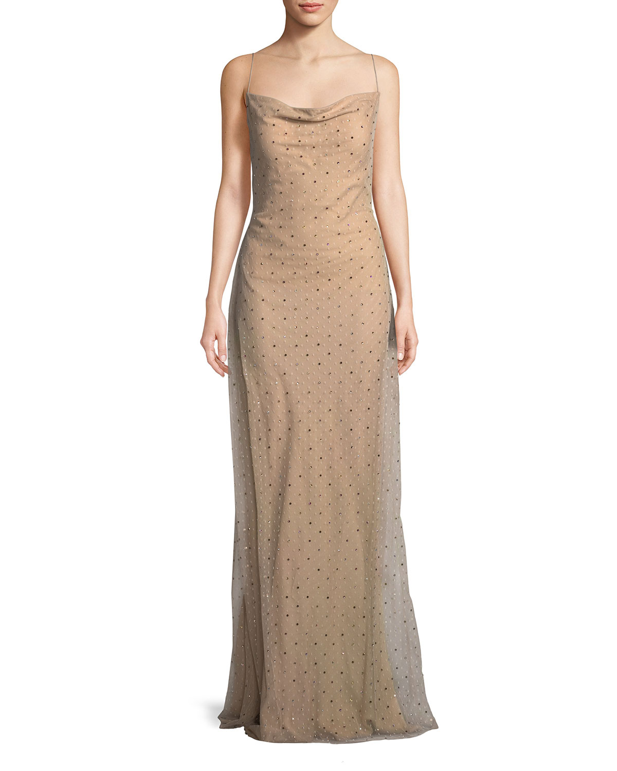 Jason Wu Point d\'Esprit Cowl-Neck Slip Evening Gown with Crystals ...
