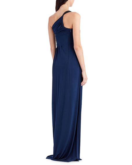 One-Shoulder Jersey Evening Gown with Ruching