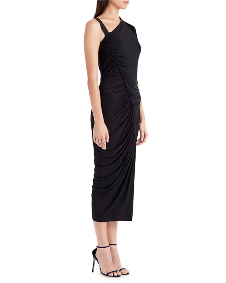 One-Shoulder Ruched Jersey Asymmetric Cocktail Dress