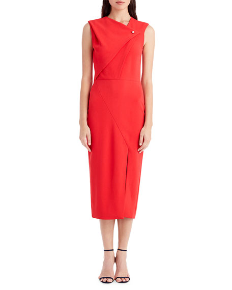 Jason Wu Sleeveless Asymmetric-Neck Cocktail Dress with Pearl