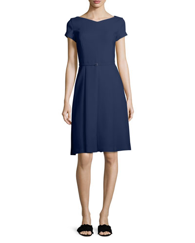 Claudette V-Neck Cap-Sleeve Belted A-Line Dress