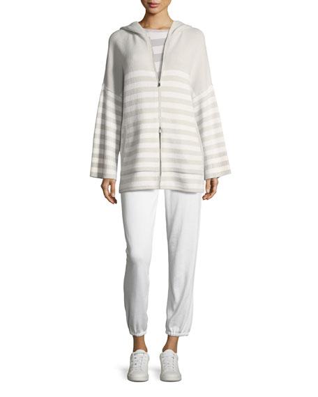 Crewneck 2-Way Striped Cashmere Sweater