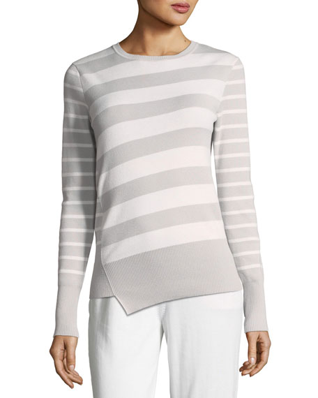 Loro Piana Crewneck 2-Way Striped Cashmere Sweater