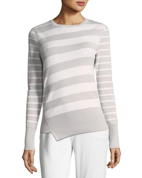 Loro Piana Crewneck 2-Way Striped Cashmere Sweater