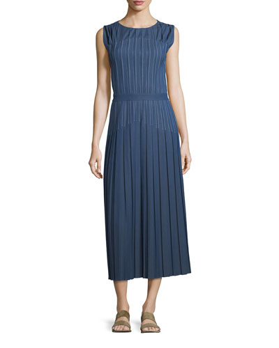 Mrytle Sleeveless Pleated Stitched Denim Ankle Dress