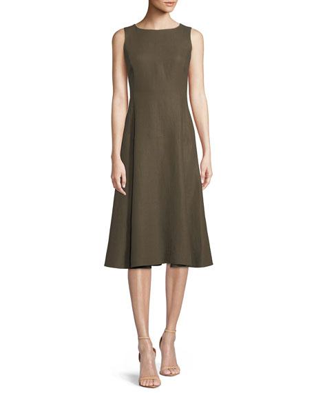 Mallorie Sleeveless Full-Skirt Linen Midi Dress