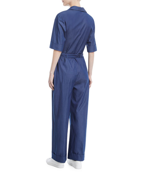 Button-Down Wide-Leg Denim Jumpsuit