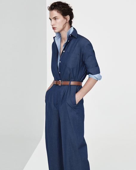 Button-Down Wide-Leg Denim Jumpsuit