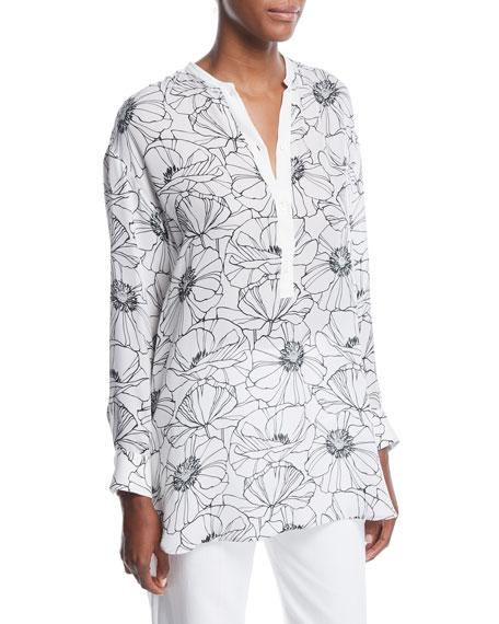 Loro Piana Cathy Floral-Print Henley Silk Shirt