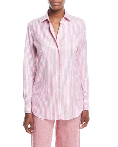Kara Button-Down Striped Oxford Shirt