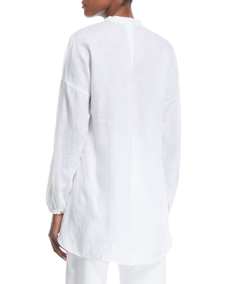 Delave Long-Sleeve Henley Linen Top