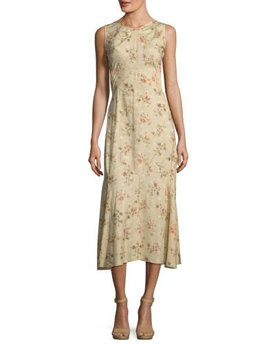 Melena Sleeveless Floral-Print Jacquard Silk Midi Dress