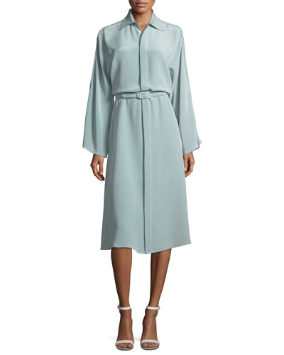 Karen Long-Sleeve Belted Silk Shirtdress