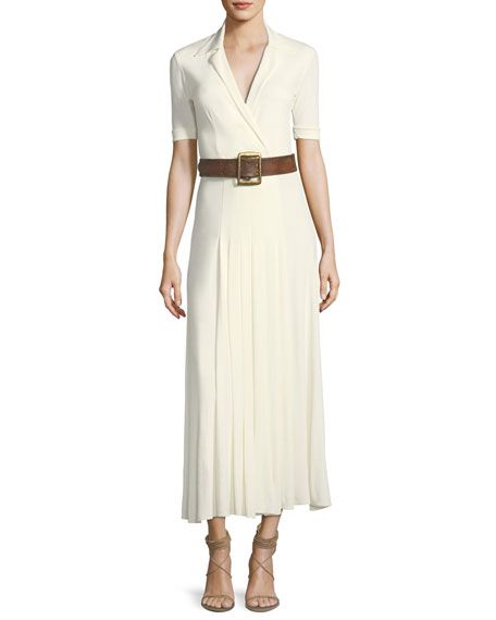 Tabatha Short-Sleeve Long Jersey Dress