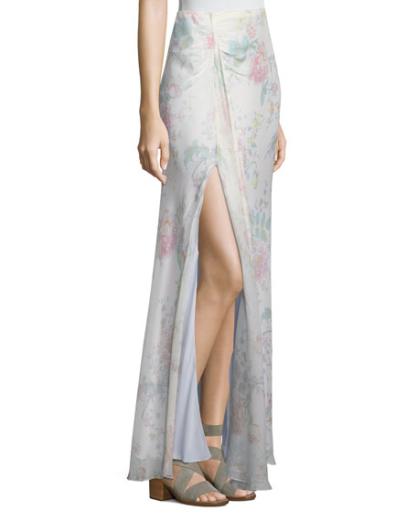 Victoria Floral-Print A-Line Silk Maxi Skirt