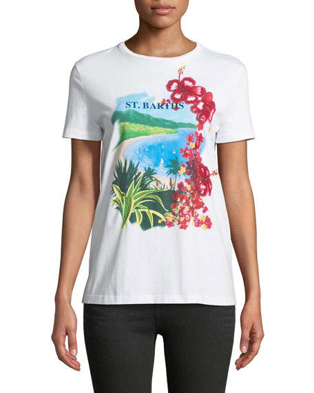 St. Barts Crewneck Short-Sleeve Floral Sequin Cotton Tee