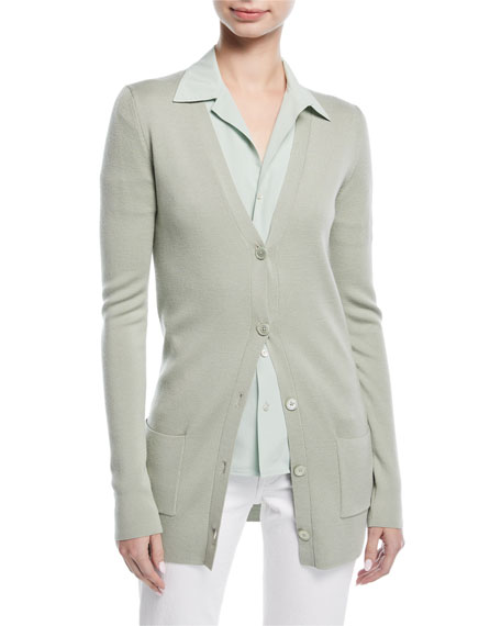 Button-Front V-Neck Wool-Silk Cardigan