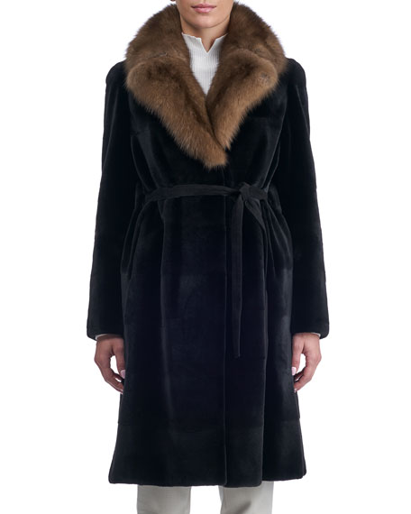 Belted Sheared Horizontal Mink Coat with Russian Sable Collar