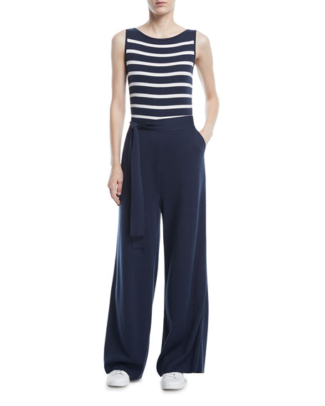 Maya Bay-Stripe Sleeveless Wide-Leg Jumpsuit