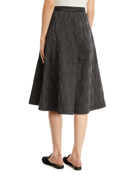 Crinkled-Cotton Striped Culottes