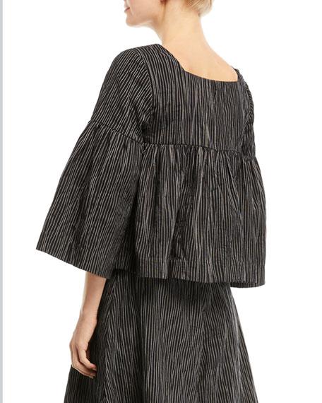 Square-Neck Striped Crinkle Cotton Trapeze Top
