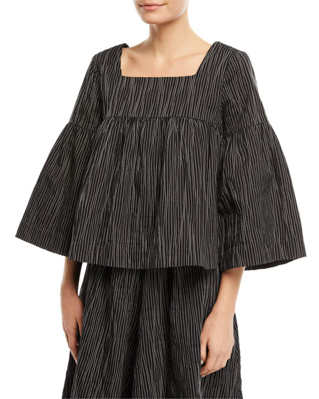 Square-Neck Striped Crinkle Cotton Trapeze Top