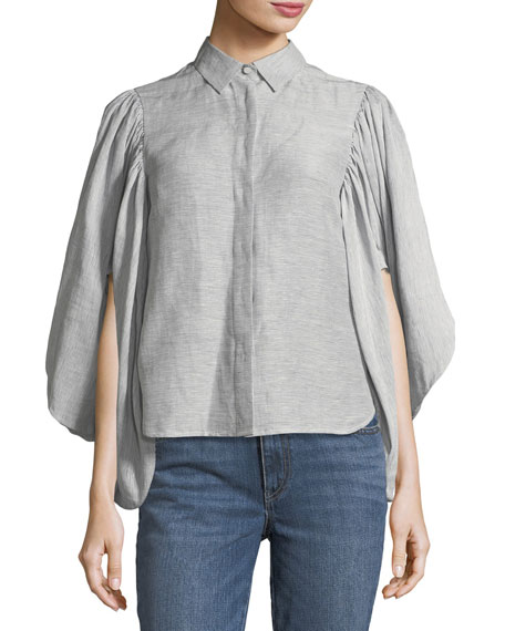 Striped Linen Kimono-Sleeve Top